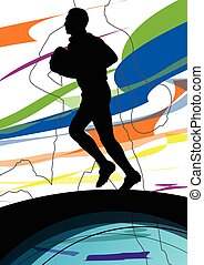 Active young men rugby player sport silhouettes abstract sport background illustration