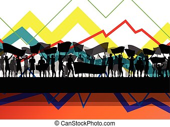 Economic crisis line chart with protesting people banners and signs in abstract vector background