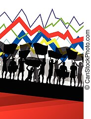 Economic crisis line chart with protesting people banners...