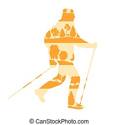 Hiking and nordic walking vector background concept made of...
