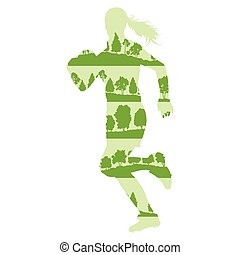 Rugby woman player active sport background illustration...