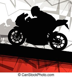 Sport motorbike riders and motorcycles silhouettes abstract...