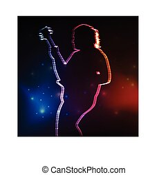Rock guitar player vector neon background concept