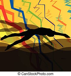 Swimmers diving and swimming in water sport pool silhouettes vector abstract background