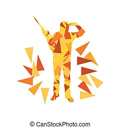 Man with rifle background sport concept made of polygon fragments isolated