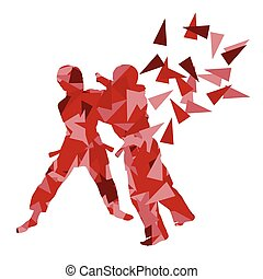Judo kid martial art child fight abstract illustration...