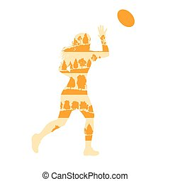 Rugby woman player active sport vector background...