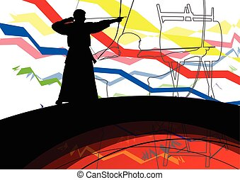 Japanese kendo active sport kyudo archer martial arts...