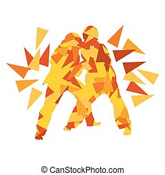 Judo kid vector martial art child fight abstract...