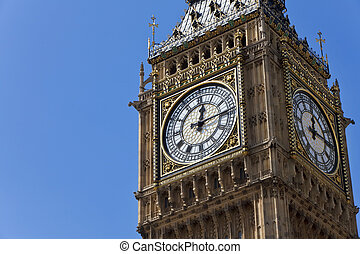 Big Ben, London, England - Close up of the clock face on the...