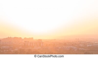 Sunset over the city of Alma Ata. Kazakhstan. TimeLapse