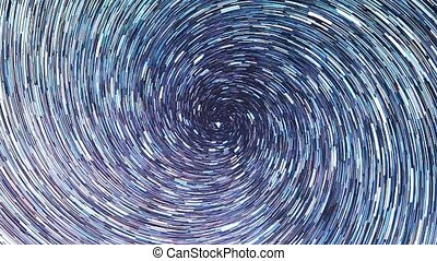 Stars draw a line in the sky. screw spiral. Night, Zoom