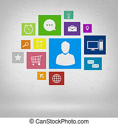 User interface - Group of colorful application icons on wall...
