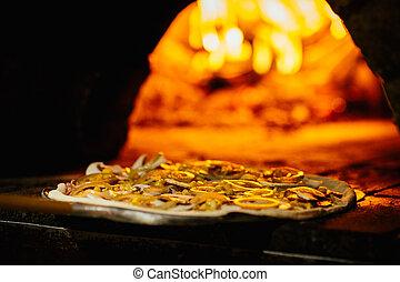fuego, ladrillo, horno,  pizza
