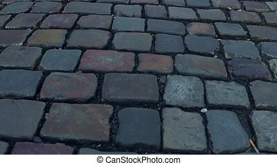 Ancient urban pavement close-up 4K steadicam video - Urban...