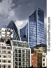 City of London - Skyscrapers in City of London with dramatic...