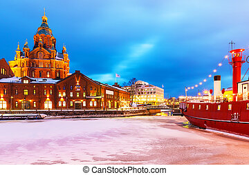 Winter in Helsinki, Finland - Scenic winter view of...