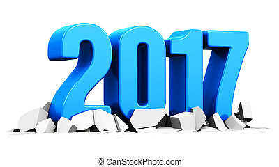 New Year 2017 holiday concept - 3D render illustration of...