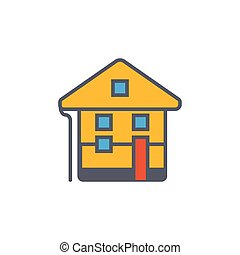 Vector icon or illustration with house in outline style -...
