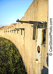 sub machine gun trench wall defensive line