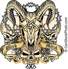 grunge skull - Gothic coat of arms with skull,...