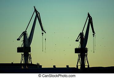 Cranes in Harbor at Twilight