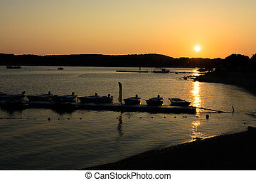 Jetty with Boats at Sunset
