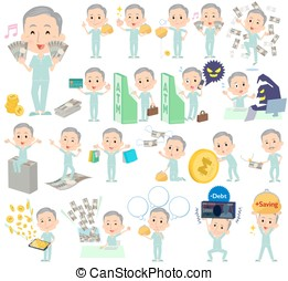 patient grandfather money - Set of various poses of patient...