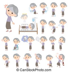 Purple clothes grandmother About the sickness