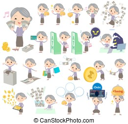 Purple clothes grandmother money - Set of various poses of...