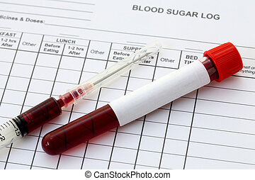 Syringe and plastic test tube with blood in laboratory