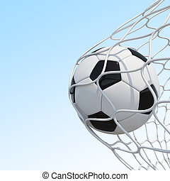 Soccer ball in net on sky background.