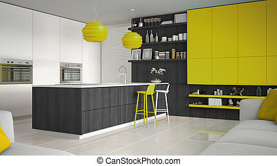 Minimalistic white kitchen with wooden and yellow details, minimal interior design