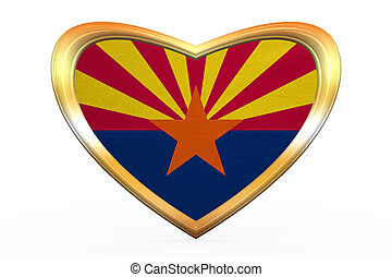 Flag of Arizona in heart shape, golden frame - Flag of the...