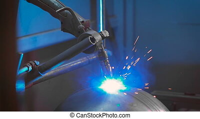 Modern welding machine in the production of metal...
