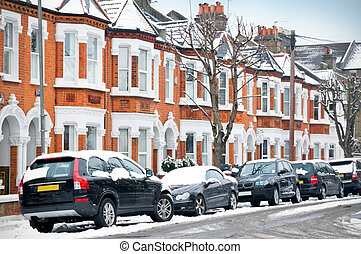 Winter Street in London - Snow covered Typical English...