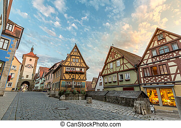 Rothenburg ob der Tauber historic town downtown, Franconia,...