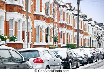 Winter Street in London. - Snow covered Typical English...