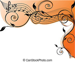 Music background with notes and flowers. vector illustration...