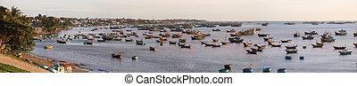 Fishing village Mui Ne, Vietnam - Panoramic photo of the...