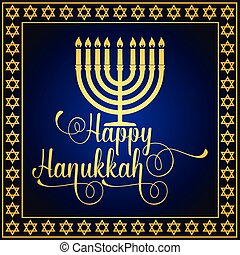 Happy Hanukkah greeting card. Typography design. Candlestick...