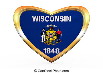 Flag of Wisconsin in heart shape, golden frame - Flag of the...