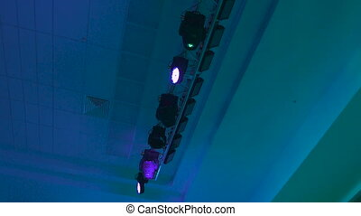 Concert lighting equipment in work. Professional lighting...