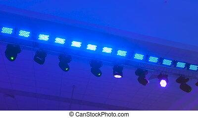 Concert lighting equipment in work. Professional lighting...