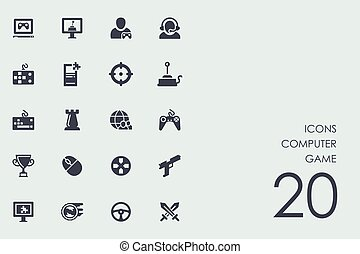 Set of computer game icons - computer game vector set of...