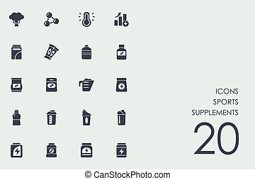 Set of sports supplements icons - sports supplements vector...