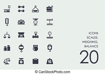 Set of scales, weighing, balance icons