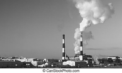 chimney smoke background - Industrial pipe smoke on the city...