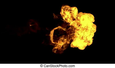 fire paint dissolved in water on a black background. 3d render. voxel graphics. computer simulation 1. full HD