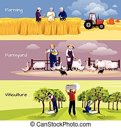 Vineyard Farmyard Crop Harvesting Flat Banners - Farming...